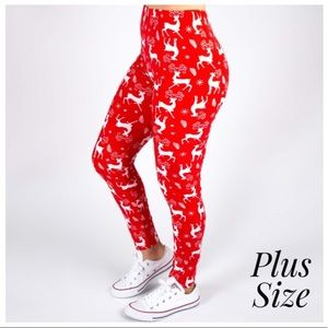 New Mix Red Christmas Leggings Plus Size One Size